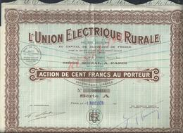 ACTION L UNION ELECTRIQUE RURALE : - Electricité & Gaz