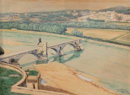 V. B. (BERMER OU BENMER ?) - Pont St Benezech Avignon. - Estampes & Gravures