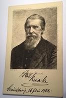 WILHELM RAABE (1831-1910) Deutscher Schriftsteller Original Autograph Portrait Postkarte(literature Literatur Autographe - Autogramme & Autographen