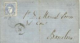 ESPAÑA, CARTA ENTERA  A  BARCELONA CON SELLO EDIFIL 107 - 1870-72 Regencia