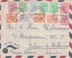 BELGIQUE 1951 PLI AERIEN DE GANSHOREN POUR PALMA DE MALLORCA - Lettres & Documents