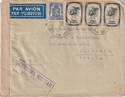 BELGIQUE 1939 PLI AERIEN DE BRUXELLES POUR ALICANTE CENSURE MILITAIRE DE VALENCIA - Covers & Documents