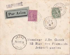 FRANCE 1930 PLI AERIEN DE PARIS POUR JETTE-BRUXELLES - 1921-1960: Période Moderne