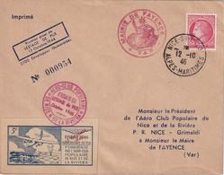FRANCE 1946 LETTRE DE NICE 1ER ESSAI DE LESTAGE DE PLIS - Postmark Collection (Covers)