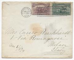 USA - 1894 - YT 82+83 Sur LETTRE De SYRACUSE => MILANO (ITALY) - Cartas