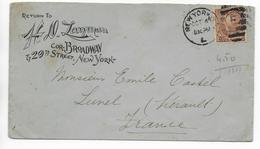 USA - 1896 - YT 74  Sur LETTRE DECOREE De NEW YORK => LUNEL (HERAULT) - 1847-99 General Issues