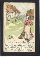 CPA Femme En Pied Girl Femme Women Glamour Beauté Art Nouveau Circulé - Femmes