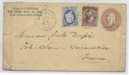 USA - 1886 - ENVELOPPE ENTIER Avec COMPLEMENT De SAN DIEGO => ISLE ADAM (SEINE ET OISE) - 1847-99 Emissions Générales