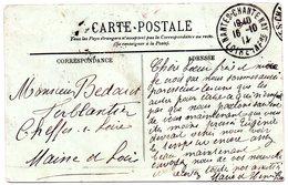 LOIRE ATLANTIQUE - Dépt N° 44 = NANTES CHANTENAY  1911 = CACHET A4 - Marcophilie (Lettres)