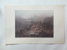 Haute Savoie. Ruines De L'Abbaye D'Aups. Vallée Du Biot. Reproduction Liyhographie - Lithographies