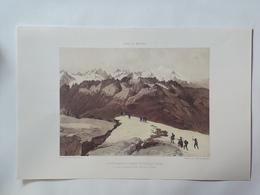 Haute Savoie. Le Mont Blanc Et La Chaine Des Aiguilles Rouges. Reproduction Lithographie - Lithographies