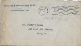 """USA - 1918 - ENVELOPPE En FRANCHISE De La """"HOUSE OF REPRESENTATIVES US"""" à WASHINGTON - Covers & Documents"""