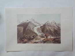 Haute Savoie. La Mer De Glace Vue De La Flegere. Reproduction Lithographie - Lithographies
