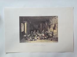 Haute Savoie. Intérieur D'un Chalet Au Village De Nant-Bride. Reproduction Lithographie - Lithographies
