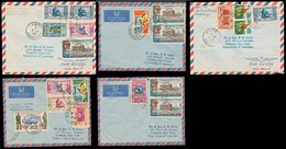 FRC - Dahomey. 1961-2. Kandi. 5 Diff Better Multiple Airmail Fkd Env To USA. Thematics Etc. Circulated. - France (former Colonies & Protectorates)
