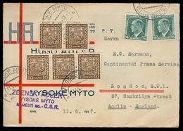 CZECHOSLOVAKIA. 1927. Vysoke - Myto - UK. Fkd Private Comercial Card Rate. - Czechoslovakia
