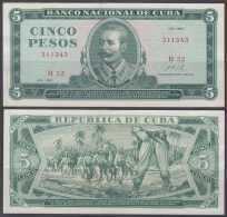 1967-BK-18 CUBA 1967 5$ XF ANTONIO MACEO LEVE DOBLEZ. - Cuba