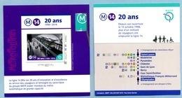 2018  RATP Les 20 Ans De La Ligne 14 - Collectors
