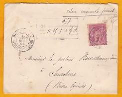 1892 - Lettre Chargée De Bordeaux Vers Sauveterre, Basses Pyrénées - 50 Francs - YT 104 50 C Seul Sage - Cad Arrivée - 1877-1920: Période Semi Moderne