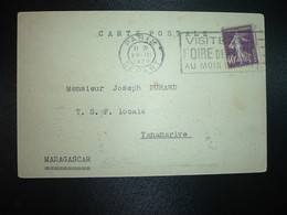CP RADIO R357 TP SEMEUSE 40c OBL.MEC.28 III 1928 PARIS DEPART Pour TSF LOCALE MADAGASCAR - Postmark Collection (Covers)