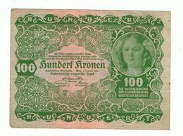 AUSTRIA»100 KRONEN»1922 FIRST ISSUE»PICK-77»VF CONDITION»CIRCULATED - Austria