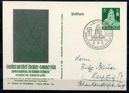 """German Empires,DR 1938 Ganzsache Mi.Nr.P269""""SACHSEN Am Werk """"mit SST""""Leipzig-Reichsmessestadt """"1 GS Used - Deutschland"""