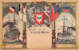 KIEL GERMANY~GRUSS Von Der KIELER WOCHE! S.M.S. & U.S.S. WAR SHIPS 1900s POSTCARD  39344 - Kiel