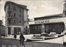 RIETI-VIA CINTIA-TEATRO=MODERNO=-CARTOLINA VERA FOTOGRAFIA VIAGGIATA IL 3-9-1957 - Rieti