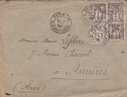 LSC 1899 - Cachet PARIS 18 Rue D'Amsterdam Sur Timbres Type Sage - YT 87 & YT 88 (x3) - Au Dos Cachet ASNIERES (Seine) - Marcophilie (Lettres)