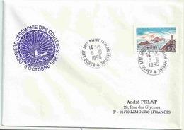 Cachet Manuel - Base Sous Marins Toulon Marine - Dernière Cérémonie Des Couleur Du Junon - Marcophilie (Lettres)