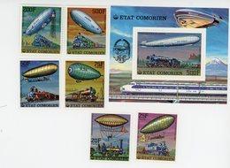 Comores-1977--1er Ascension En Ballon- Trains-serie +bloc***MNH - Mongolfiere