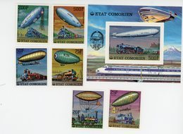 Comores-1977--1er Ascension En Ballon- Trains-serie +bloc***MNH - Airships
