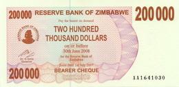 Zimbabwe 200000 Dollars 2008 Pick 49 UNC - Zimbabwe
