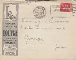 LSC1936 -Enveloppe Illustrée - Les Grands Magasins Du Louvre - Cachet PARIS DEPART - Au Dos Cachet Perlé GEVINGEY (Jura) - Storia Postale