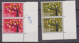 Europa Cept 1962 Belgium 2v (pair, Corner) ** Mnh (41966) - 1962