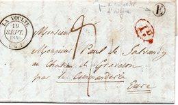 LAC ARDECHE LA VOULTE 1840 1 Décime Rural Rouge Lettre Timbre Boîte Rurale E Non Identifiée - Marcophilie (Lettres)