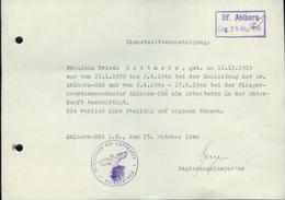WW II Blatt : Dienstzeitbescheinigung Fliegerhorst Ahlhorn 1940 - Briefe U. Dokumente