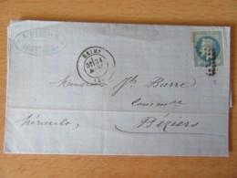 France - Timbre Napoléon III 20c YT N°29B Sur Lettre - Reims Vers Béziers - OB GC ? (3103) - Mars 1870 - Postmark Collection (Covers)