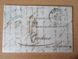 France - Lettre Marseille Vers Strasbourg (Le Wacken) - Taxe Manuscrite Chiffre 6 + Cachet Type 13 - 11 Octobre 1843 - Marcophilie (Lettres)