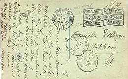 Prentkaart Van Sautour-Philippeville  Met CORRESPONDANCE...naar NETHEN Op 1-VIII-1919. - Armée Belge