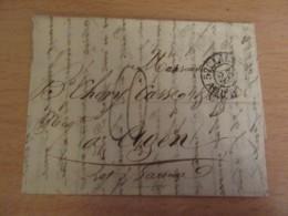 France - Lettre Lille Vers Agen - Chiffre-taxe Manuscrit Bleu + Cachets Dont Essai Timbre à Date Lille 23 Août 1828 - 1801-1848: Precursors XIX