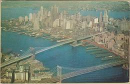 New York City - Cpsm / Brooklyn Bridge And Manhattan Bridge. - New York City