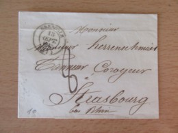 France - Lettre Grenoble Vers Strasbourg - Chiffre-taxe 8 Manuscrit + Cachet Type 14 - Septembre 1843 - Postmark Collection (Covers)