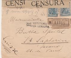 Argentine Lettre Recommandée Censurée Pour La Suisse 1918 - Covers & Documents