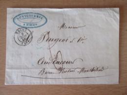France - Peugeot - Reims Vers Audincourt - Chiffre-taxe 6 Manuscrit  + Cachet à Date Bleu Au Verso - Septembre 1848 - Postmark Collection (Covers)