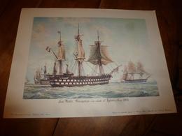 La Flotte Française En Rade D'Hyères En 1860  (Portrait Navire Sur Support Bristol ,dimension Hors-tout = 48cm X 36cm - Décoration Maritime