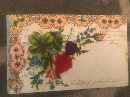 1906 Cartolina Formato Piccolo Viaggiata Con Fiori A Sbalzo E Di Stoffa Cromolitografia - Europe