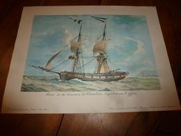 Brick De 180 Tonneaux LE THIMOLEON, Capitaine Eyffren  (Portrait Navire  ,dimension Hors-tout = 48cm X 36cm - Decoración Maritima