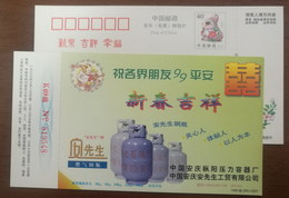 Gas Cylinder,LPG Cylinder,China 1999 Anqing Pressure Vessel Factory Advertising Pre-stamped Card - Factories & Industries