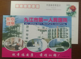 Hospital Inpatient Department,CT Scanner,China 2001 Jiujiang No.1 People Hospital Advertising Pre-stamped Card - Medicine